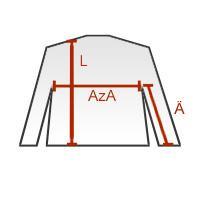 Legen Sie ein Vergleichskleidungsstück flach auf den Boden. L   Länge ab  Schulter (Rückenseite) AzA   Achselnaht zu Achselnaht Ä   Ärmellänge ab  Achselnaht e34890317b